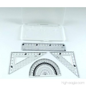 PartyErasers 4 in 1 Protractor and ruler Set - White Transparent Case - B01IFYN0U4