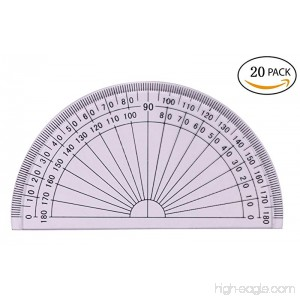 Tupalizy 4 inch 180 Degrees Plastic Math Protractors for Student Learning Angle Measurement Clear 20PCS - B071931MTQ