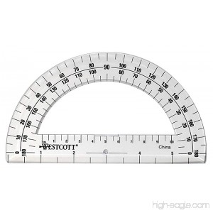 Westcott Clear 6-Inch Plastic 180 Degree Protractor (500-11200) Case of 144 - B071WCKRS3