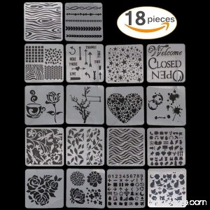 18pcs Drawing Stencil Plastic Painting Template Kids Crafts DIY Mix Pattern Hollow Out Painting Drawing Templates - B0771JPLGX