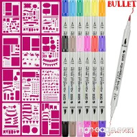 Dual Art Marker fineliner pens 12 Colored and 12pcs Notebook Diary Scrapbook Templates Plastic Planner Bullet Journal Supplies Kit - B07CN1CZDL