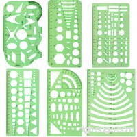 Petift 6 Pieces Plastic Drawings Measuring Templates Geometry Stencils Geometric Rulers Stationary Tool Kit for Office and School Building formwork Drawings Drafting Templates Clear Green Color - B07DCHPY55