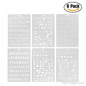 YUEAON pack of 6 plastic letters and numbers stencils alphabet symbols stencil template -7x10 Inch(A4'size )- diy drawing painting bullet journal supplies - B072KD3JC9
