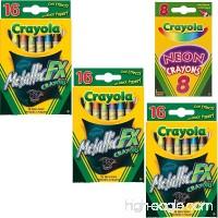 Crayola Metallic FX Crayons (3-Pack of 16) Bundle with Box of Neon Crayons - B07CNGKZYZ
