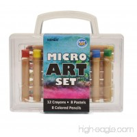Xonex Micro Art Set Stores 12 Micro Crayones 8 Micro Colored Pencils 8 Micro Oil Pastels 5 X 5-1/2 X 1-1/2 Inches 1 Count (59034) - B00436SG2Q