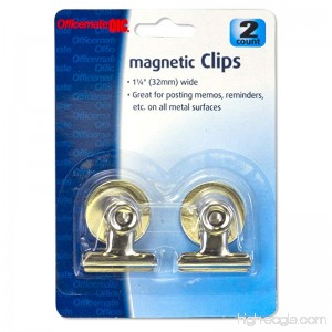 Officemate 1.25-Inch Magnetic Spring Clip 2 in a Pack Silver (30112) - B00JBG1K8A