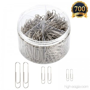 SUBANG 700 Pieces Sliver Paper clips Medium 28mm 33mm and Jumbo Sizes 50mm Office Clips for School Personal Document Organizing Professional Work - B07DC1D9GY