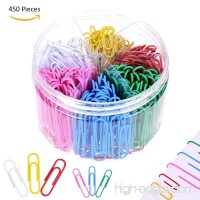 YoungRich 450 Pieces Colored Paper Clips Office Documentary Stationery Assorted Sizes Premium with Plastic Case 2 Sizes for Collate Files Mark Length 28mm 50mm - B07CVX356B