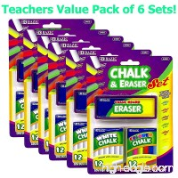 6 Pk 12 Color and 12 White Chalk with Eraser Sets Assorted - B00USBYVRE