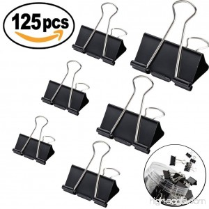 125pcs Binder Clips Paper Clamp Clips for Letter Notes Paper Binder Office/School Supplies Assorted Sizes - B07CG2C98B