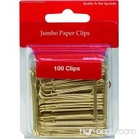 1InTheOffice Jumbo Paper Clips  Gold  Smooth  100/Pack - B01N30KZFH