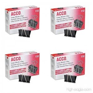 ACCO Binder Clips Large 4 Boxes 12 Clips/Box (A7072100B-AZ) - B072HSWP1Q