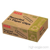Acco Recycled #1 Paper Clips 100 Count (A7072365A) - B001H9ZD5U