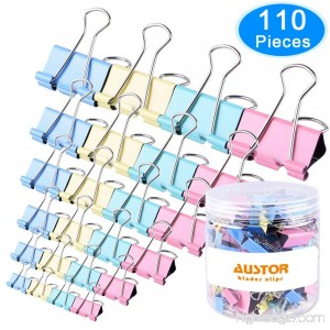 AUSTOR 110 Pcs Colored Binder Clips Paper Clamp Clips Assorted 6 Sizes - B077XDPZ3F