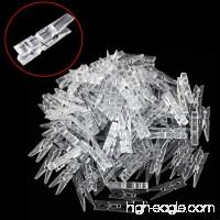 Bonayuanda 100pcs Mini Clear Plastic Utility Paper Clip Clothespins Clip Clothes Line Clips Photo Clips - B01IHT5E06