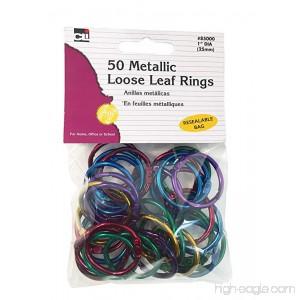 Charles Leonard Loose Leaf Rings 1 Diameter Metallic Assorted Colors 50 per Bag 1 Bag (85000) - B078H9VTMK