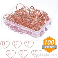 Jetec 100 Pieces 3 cm Love Heart Shaped Paper Clips Bookmark Clips for Office School Home  Rose Gold - B07F3WQHCH