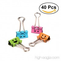 NUOLUX Binder Clips Metal Smiley Face File Paper Clip Clamp Mixed Color Pack of 40 - B072N28V42