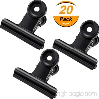 TecUnite Metal Bulldog Clips 2 Inch Bulldog Paper Clips Hinge Clamp File Binder Clips for Photo  File Storage  Home Office Supplies  Pack of 20 (Black) - B07D3PPCVB