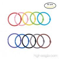 PandaHall Elite 50 Pieces 10 Color Book Rings Loose Leaf Binder Ring Key Chain Key Rings (1.77) - B07B5YZ1Z2