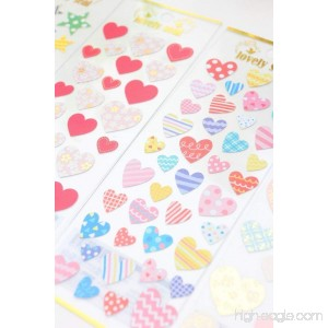Colorful Heart Shaped Adhesive Stickers Scrapbooking DIY Decoration Stickers Mobile Phone Stickers - B079G1PB41