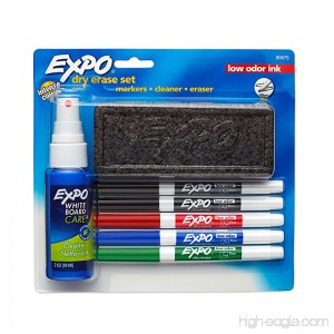 Expo 80675 EXPO Low-Odor Dry Erase Set Fine Point Assorted Colors 7-Piece with Cleaner - B00006IFIM