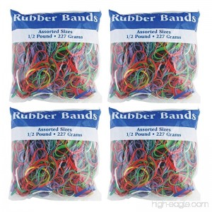 BAZIC Assorted Dimensions 227g/0.5 lbs. Rubber Bands Multi Color (465-48P) 4-Pack - B00OSAG38Q