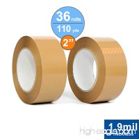 36 Rolls Package Tape 2 inch X 110 Yards  Carton Sealing Tape  1.9mil Thick  Tan Acrylic - B07FQSQKZS