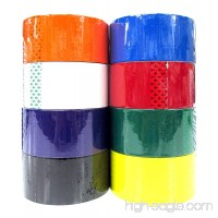 "8 Colored Packing Tape Set (Black  White  Orange  Yellow  Green  Purple  Red  Blue) 1.88"" x 164 Feet per Roll - B01HOZ82OY"
