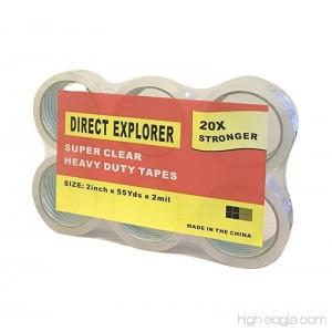Direct Explorer Brand - Premium Carton Packing Tape 55 yards 2mil Thickness - Clear - 6 Rolls - B072PTPJ4K