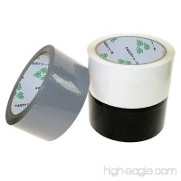 PackaPro Carton Package Moving Boxes Sorting Colors Sealing Tape Extra Long 1.89 Inches x 55 Yards  3 Rolls  Black White Grey - B0732YWPL9