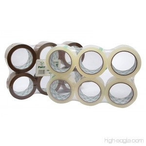 PAKIT 12 Rolls of Heavy Duty 6 Brown & 6 Clear Value Pack | 12 Rolls of Heavy Duty Commercial Grade 1.88 inches X 72 yards (48mm x 66M) Clear Tape for Packaging Boxing Moving & Shipping - B0784GDQQ8