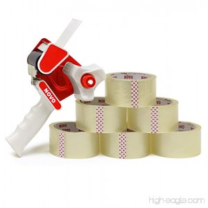 Tape Dispenser Gun + 6 Clear Rolls | Bulk Packing Supplies for Shipping Box | Heavy Duty Moving Brown Package Super Strong Sealing Brand Seal Paper Packaging Masking Refill Office Desk Mailing Pack - B073PL523S