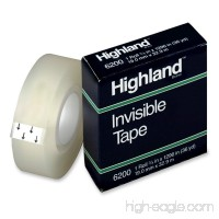 Highland Invisible Permanent Mending Tape 3/4 x 1296 Inches 1 Inch Core Clear (6200341296) - B00006IF5Z
