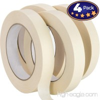Nova Supply 3/4 in Pro-Grade Masking Tape. 60 Yard Roll 4 Pack = 240 Yards of Multi-Use  Easy Tear Tape. Great for Labeling  Painting  Packing and More. Adhesive Leaves No Residue. - B078TKBPM7