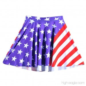 Hmlai Clothes for Fourth of July Women American Flag Print Casual Stretch High Waist Pleated Skater Mini Skirt - B07CWL1Z18