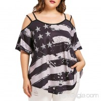 Hmlai Clothes for Fourth of July Women Plus Size Cold Shoulder Strapless American Flag T-shirt Blouse Top - B07D6HGFC2