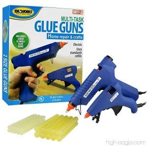 Idea Works Multitask All Purpose Electric High Temperature Set of 2 Glue Guns With 20 Glue Sticks - B01E48MK2O
