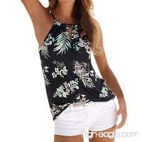 G&Kshop Women Tank Tops Floral Printed Halter Vest Shirt Casual Sleeveless Tee Tanks Camis - B07DMDRDSF