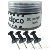 Clipco Push Pins Jar (200-Count) (Black) - B071GS95Z8