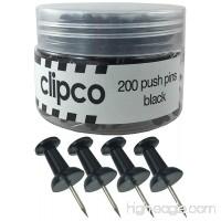 Clipco Push Pins Jar (200-Count) (Black) - B071GS95Z8