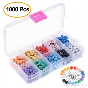 Kuuqa 1000 Pieces 1/8 inch Map Push Pins Map Tacks 10 Colors (Each Color 100 PCS) - B01N6N0BXS