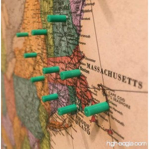 Map Magnets - 40 Magnetic Push Pins in Green - Tiny Colorful Map Magnets Perfect for Marking Travels or Decorating a Home or Office - B014LBVZIY