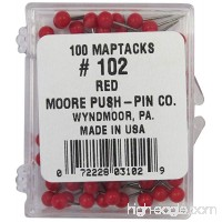 Moore Push-Pin Map Tacks  Red  100 Tacks per Pack - B000TTPJOO