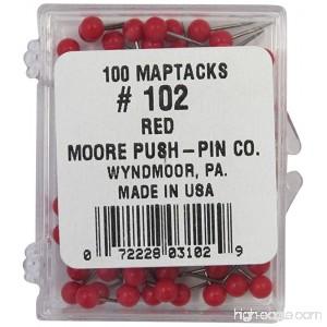 Moore Push-Pin Map Tacks Red 100 Tacks per Pack - B000TTPJOO