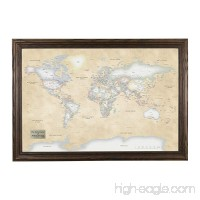 Push Pin Travel Maps Personalized Perfectly Pastel World with Solid wood Brown Frame and Pins 24 x 36 - B0747VMG9C