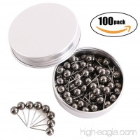 Tupalizy 100PCS 1/4 inch Small Round Head Map Tacks Pins for Home Office Bulletin Cork Board Use and DIY Craft Project (Black Silver) - B076CW4116