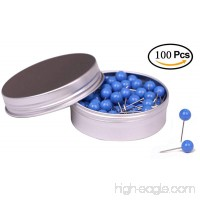 Tupalizy 100PCS 1/4 inch Small Round Head Map Tacks Pins for Home Office Bulletin Cork Board Use and DIY Craft Project (Blue) - B06ZZVX17Q