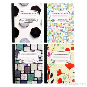4-Pack Composition Notebook 9-3/4 x 7-1/2 Wide Ruled 100 Sheet (200 Pages) Weekly Class Schedule and Multiplication/Conversion Tables on Covers - Styles: Tiles Flowers Shapes Spots (4-Pack) - B07D843X6P
