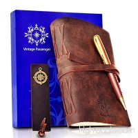 """LEATHER JOURNAL - GIFT SET Handmade Notebook With Leather Bookmark  Elegant Pen and Box - VINTAGE Travel Diary For Writing  Taking Notes  Sketching  Drawing  Planning  Men  Women  5 x 7"""" - B0762NVCGS"""